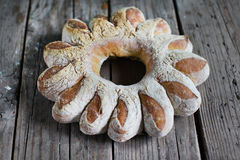 Bread wreath, artisan shaped rye loaf Stock Photo