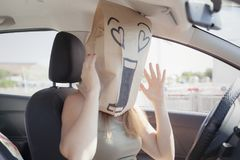 Breadbag car happy unbelievable Stock Photos