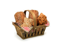 Breadbasket. Selection of wheat bread in a Square basket Royalty Free Stock Image