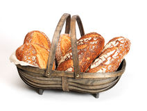 Breadbasket. White bread in old wood basket Royalty Free Stock Photo