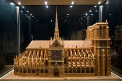 Breadboard model of a cathedral Notre-Dame Stock Photos