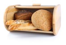 Breadbox & bread Stock Photo