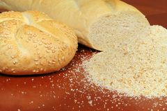 Breadcrumb and baguette. Close up of breads and breadcrumb Royalty Free Stock Photos