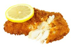 Breadcrumb Covered Cod Fish Fillet. Isolated on a white background Royalty Free Stock Image