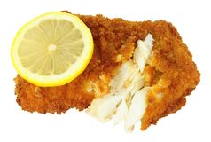Breadcrumb Covered Cod Fish Fillet. Isolated on a white background Royalty Free Stock Images
