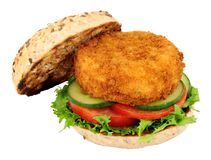 Fish Cake Sandwich. Breadcrumb covered fish cake and salad sandwich isolated on a white background royalty free stock images