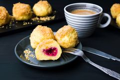 Breadcrumb dumplings with a cup of coffee. Breadcrumb dumplings served with a cup of coffee Royalty Free Stock Image