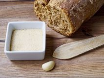 Breadcrumb in a white recipe. On wood background Stock Photos