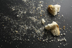 Breadcrumbs on black background. Horizontal image Royalty Free Stock Images