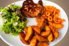 Breaded зажарил мясо, картошки и овощи стоковые изображения rf