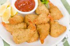 Breaded Butterfly Prawns Stock Image