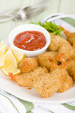 Breaded Butterfly Prawns Stock Photography