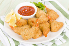 Breaded Butterfly Prawns Royalty Free Stock Photos