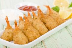 Breaded Butterfly Prawns Stock Images