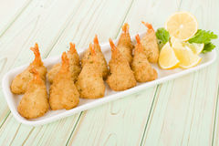 Breaded Butterfly Prawns Stock Photo