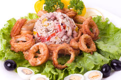 Breaded calamari rings deep fried Stock Photo