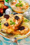 Breaded carp with almonds and prune for christmas. Breaded carp fillets with almonds and prune for christmas Stock Images