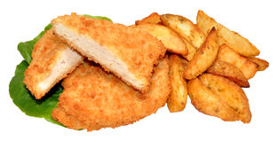 Breaded Chicken Breast Fillets And Potato Wedges Stock Images