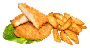 Breaded Chicken Breast Fillets And Potato Wedges Royalty Free Stock Photo