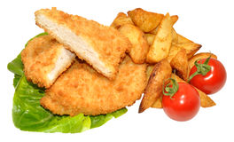Breaded Chicken Breast Fillets And Potato Wedges Stock Image