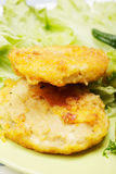 Breaded chicken cutlets and salad Stock Image