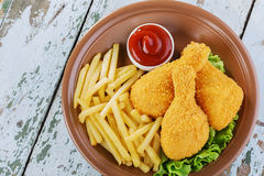 Breaded chicken drumstick Royalty Free Stock Photos