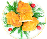 Breaded Chicken Fillet with Herbs and Cranberries Stock Photo