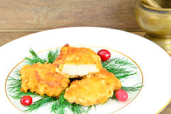 Breaded Chicken Fillet with Herbs and Cranberries Royalty Free Stock Photo