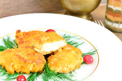 Breaded Chicken Fillet with Herbs and Cranberries Stock Photography