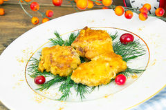 Breaded Chicken Fillet with Herbs and Cranberries Stock Photos