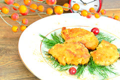 Breaded Chicken Fillet with Herbs and Cranberries Royalty Free Stock Photos