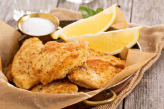 Breaded chicken fillet. With lemons and salt Royalty Free Stock Images