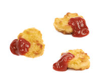 Breaded chicken nugget composition isolated Royalty Free Stock Images