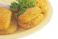 Breaded chicken nugget detail Stock Photos