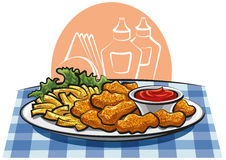 Breaded chicken nuggets and french fries Royalty Free Stock Photo