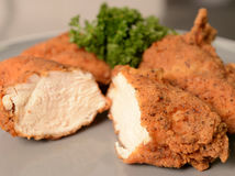 Breaded Chicken. Strips of breaded chicken on a plate Royalty Free Stock Photos