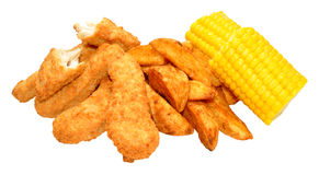Breaded Chicken Strips And Wedges Stock Photos