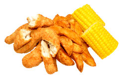 Breaded Chicken Strips And Wedges Stock Images