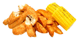 Breaded Chicken Strips And Wedges Royalty Free Stock Photography