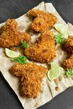Breaded chicken wings, top view Stock Photo
