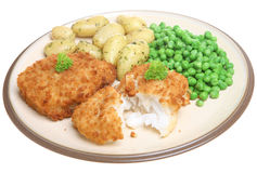 Breaded Cod with New Potatoes Royalty Free Stock Photography