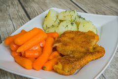 Breaded cutlet with boiled potatoes and carrot Royalty Free Stock Image