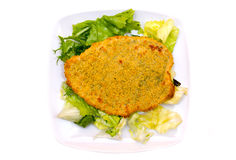 Breaded cutlet with salad from above Stock Photography