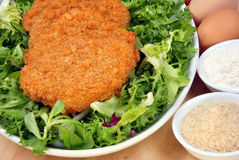 Breaded cutlet with some salad on a plate Royalty Free Stock Photography