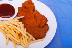 Breaded escalope with garnish Stock Image