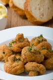 Breaded a fait frire des champignons avec du jus Images libres de droits