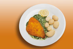 Breaded fillet of plaice with creamed spinach and boiled potatoe Stock Photo