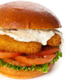 Breaded Fish burger Royalty Free Stock Images