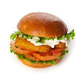 Breaded Fish burger Stock Image