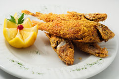 The breaded fish in corn with lemon Royalty Free Stock Images